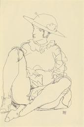 Sitzendes Mädchen mit Hut, ona