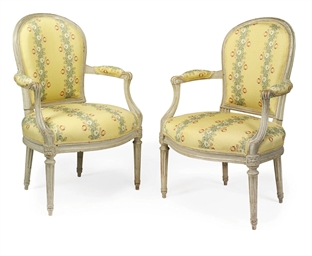 A PAIR OF LATE LOUIS XV GREY-P