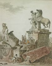 Capriccio of classical sculptures with a group listening to an orator