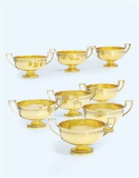 A SET OF EIGHT FRENCH SILVER-GILT SALTS