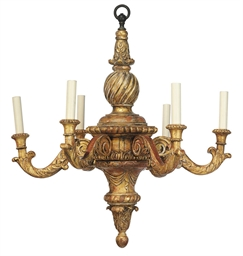 AN ITALIAN GILTWOOD SIX-LIGHT