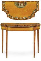 A GEORGE III SATINWOOD AND POLYCHROME-DECORATED CARD-TABLE