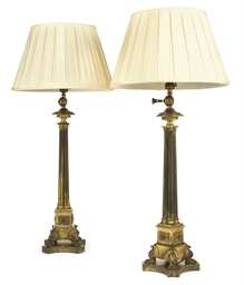 A PAIR OF REGENCY LACQUERED-BR
