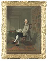 Portrait of Sergeant Richard Leigh (d. 1772), small full-length, seated at a table, in a grey coat, a gold waistcoat and black breeches, his right arm resting on an open book, in an interior with bookshelves