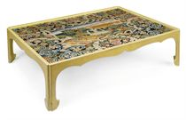 AN ENGLISH GROS AND PETIT-POINT NEEDLEWORK, WHITE AND YELLOW-PAINTED LOW TABLE