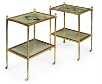 A PAIR OF LACQUERED-BRASS AND GILTWOOD TWO-TIER OCCASIONAL TABLES