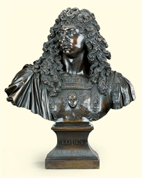 A FRENCH BRONZE BUST OF LOUIS