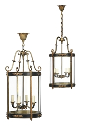 A PAIR OF EMPIRE STYLE BRASS L