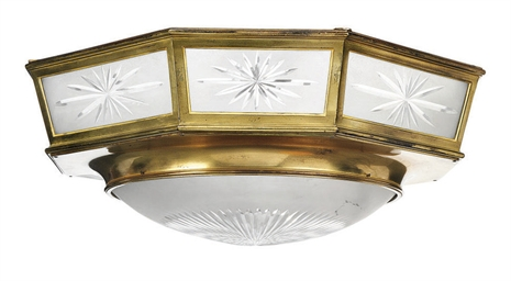 A BRASS AND ETCHED-GLASS OCTAG