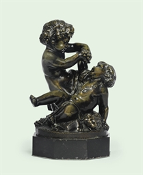 A FRENCH BRONZE GROUP OF TWO P