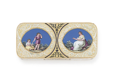 A SWISS GOLD AND ENAMEL SNUFFB