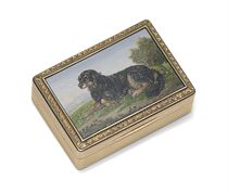 A GEORGE IV GOLD SNUFF BOX WITH MICROMOSAIC PLAQUE