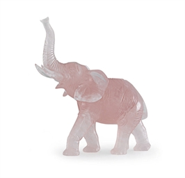 A HARDSTONE MODEL OF AN ELEPHA