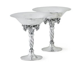 A MATCHED PAIR OF DANISH SILVE