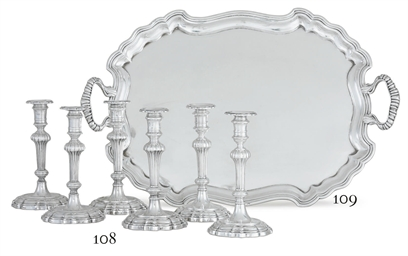 AN ITALIAN SILVER TWO-HANDLED