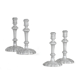 FOUR ITALIAN SILVER CANDLESTIC