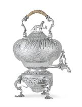 A GEORGE III SILVER KETTLE-ON-STAND