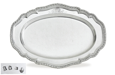 A GEORGE II SILVER MEAT DISH