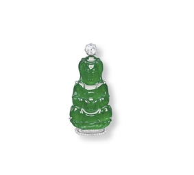 A JADEITE GUANYIN AND DIAMOND