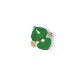 A JADEITE, COLOURED DIAMOND AN