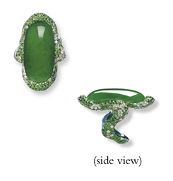 A JADEITE, DIAMOND AND GARNET