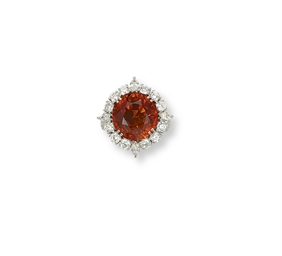 A SPESSARTITE GARNET AND DIAMO