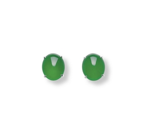 A PAIR OF JADEITE EARRINGS