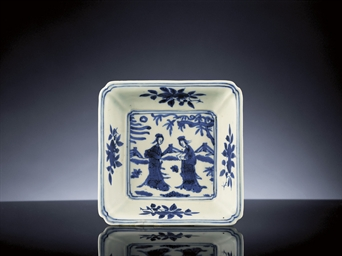 A RARE MING BLUE AND WHITE SQU