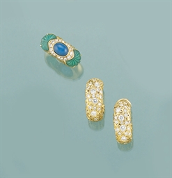 A chalcedony and diamond ring,