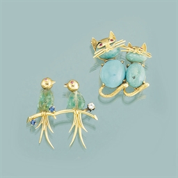 Two gem novelty brooches