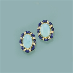A pair of French turquoise dia