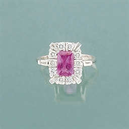 A pink sapphire and diamond cl