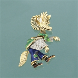 A diamond and enamel brooch