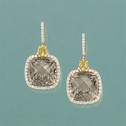 A pair of diamond, smokey quar