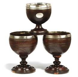 A PAIR OF SILVER-MOUNTED COCON