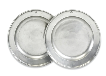 A PAIR OF GEORGE II PEWTER CHA