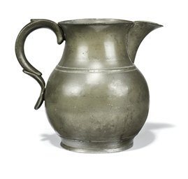 A GEORGE IV PEWTER GALLON ALE