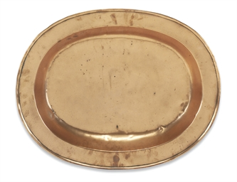 A GEORGE III COPPER OVAL MEAT-