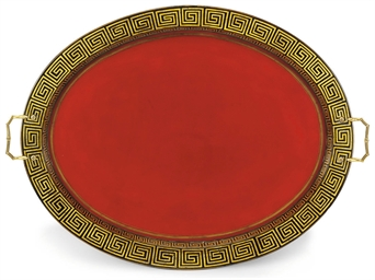 A REGENCY PAPIER MACHÉ OVAL TR