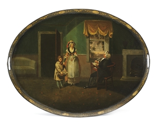 A REGENCY PAINTED-TIN OVAL TRA