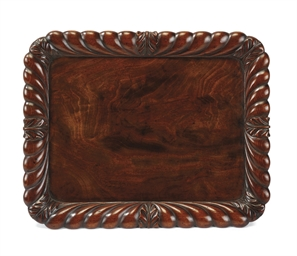 A WILLIAM IV MAHOGANY SALVER