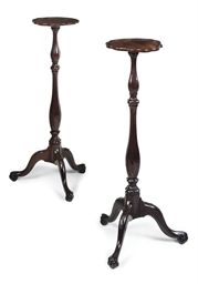 A PAIR OF DUTCH MAHOGANY TORCH
