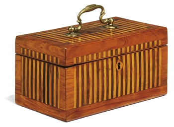 A DUTCH MARQUETRY TEA-CHEST