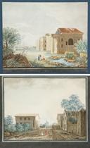 Barrière de Vincennes; Barrière de Charenton; Barrière du Faubourg St Martin; Barrière de Bercy, quatre planches de la série Vue de Paris d'après Palaiseau