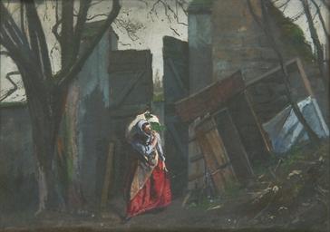 Une femme entrant par un porta