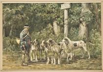 Un piqueur et sa meute de chiens allant à la chasse à courre; et Chiens au repos dans la forêt