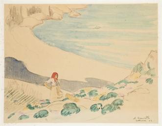 Femme sur une plage à Colliour