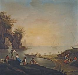 Pêcheurs au bord de la mer, au