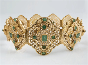 CEINTURE EMERAUDES, DIAMANTS E