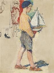 Jeune garçon avec un bateau